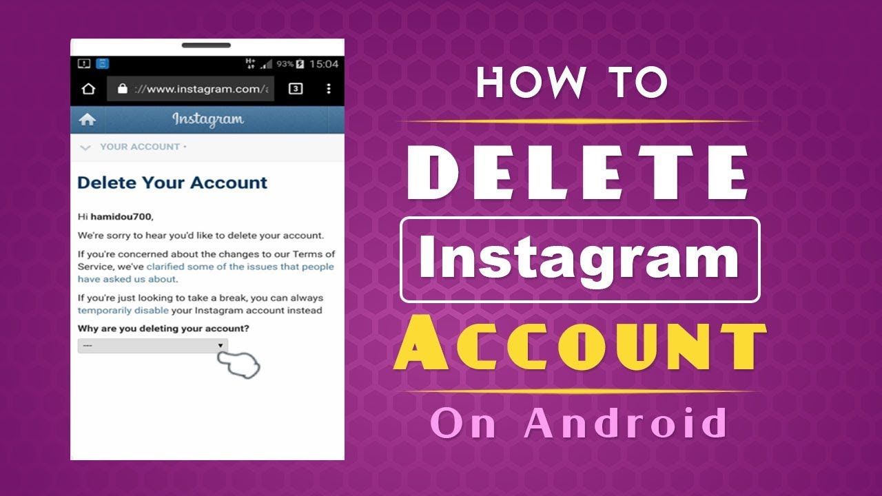 How to delete instagram account on android